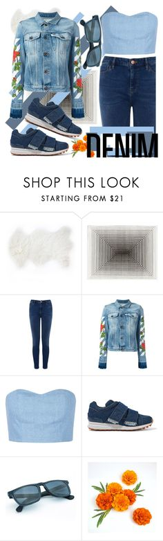"""denim on denim #denim #jeans #denimondenim"" by fashiongarlx ❤ liked on Polyvore featuring interior, interiors, interior design, home, home decor, interior decorating, Warehouse, Off-White, Julien David and 3.1 Phillip Lim"