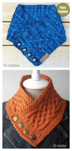 The Celtic Cable Button Cowl Free Knitting Pattern makes a soft knit cowl, decorated with intricate Celtic knots. It has squishy texture unique to cable knitting. Cable Knitting, Vogue Knitting, Knit Cowl, Cable Cowl, Knitted Cowls, Knitting Patterns Free, Knit Patterns, Free Knitting, Free Pattern