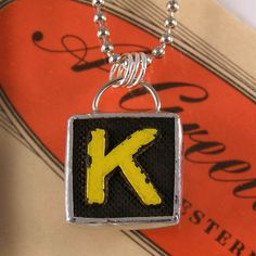 Letter K Initial Pendant Necklace by XOHandworks $20