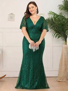 Bridesmaid Dresses Plus Size, Evening Dresses Plus Size, Long Evening Gowns, Formal Dresses For Women, Plus Size Dresses, Bride Dresses, Gowns For Plus Size Women, Evening Party, Como Fazer Short