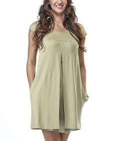Take a look at this Camel Maternity & Nursing Cap-Sleeve Dress - Women on zulily today!