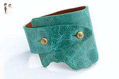 Genuine Leather Wide-Wrap Luxury Bracelet in Turquoise (Blue) - Wedding bracelets (*Amazon Partner-Link)