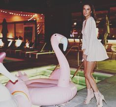 """149k Likes, 342 Comments - Alessandra Ambrosio (@alessandraambrosio) on Instagram: """"We really hit it off...me and my pink flamingo!!! 💕💫🦄🌵💖🌟🐦🎉🌈 #festivAle"""""""