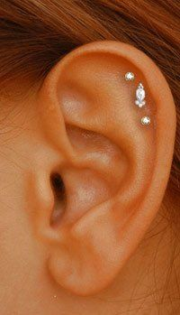 triple upper cartilage (helix) piercing with Tash threaded studs