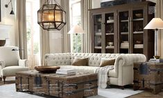The Intentional Apartment: 67 More Examples of a Masculine Home from the Pages of the Restoration Hardware Catalog - Primer Large Living Rooms, Living Room Tables, Living Room Drapes, Formal Living Rooms, New Living Room, Living Room Decor, Restoration Hardware Furniture, Restoration Hardware Lighting, Restoration Hardware Catalog