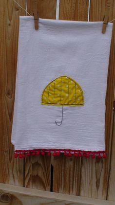 little yellow umbrella tea towel