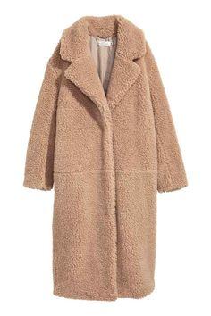 Длинное плюшевое пальто - Бежевый - Женщины | H&M RU