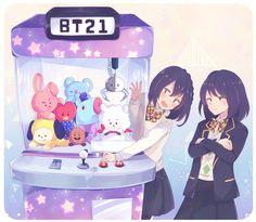 Kim Army and Min Yoonji Bts Chibi, Shop Bts, Fanart Bts, Les Bts, Bts Girl, Min Yoonji, Bts Drawings, Bts Fans, About Bts