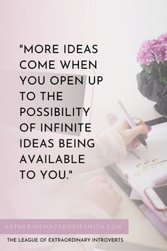More ideas come when you open up to the possibility of infinite ideas being available to you. katherinemackenziesmith.com Sensitive People, Highly Sensitive, Strengths Finder Test, League Of Extraordinary, Introvert Quotes, We Energies, Starting Your Own Business, Infinite, Social Media Marketing