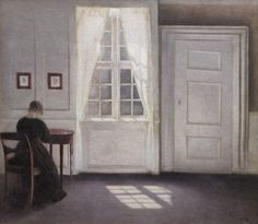 """Vilhelm Hammershøi (1864 - 1916)  Interior in Strandgade, Sunlight on the Floor, 1901, Oil on canvas  Much of Hammershøi's work shows interiors from his homes. Over the years he would use his changing homes as studio and subject matter.  He did not choose his flats at random. In an interview with the magazine Hjemmet (The Home) in 1909 Hammershøi said: """"I personally prefer the Old; old buildings, old furniture, the unique and distinct atmosphere that such things possess."""""""