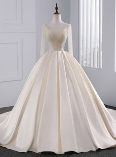 Champagne Long Sleeve Backless Satin Beading Wedding Dress