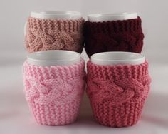 4 Hand Knit Coffee Mug Coaster Cozy Your Choice of Colors by TravisTreasureBox
