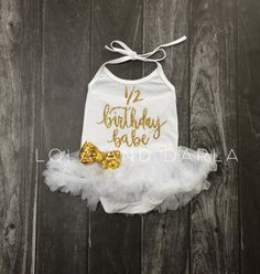 1/2 Birthday Babe white tutu dress with by LolaandDarlaDesigns