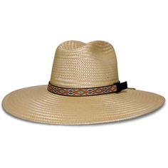 Water-resistant straw hat with five-inch brim for excellent sun protection. Practical stowaway chin cord/tumpline. Adjustable sport webbing band. Hand spiraled polypropylene TechStraw™ braid. Stretchy, moisture wicking CoolMax® sweatband. Will maintain its shape and stay light and functional when wet. Manufactured by San Francisco Hat Co. Made in California, USA.