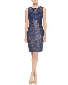 Sleeveless Lace-Top Sheath Dress by Kay Unger New York at Neiman Marcus.