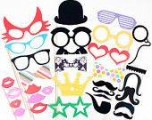 Photo Booth Props Photobooth prop - DIY YOU GLUE -  On a Stick - 31 Piece set for Weddings and Parties