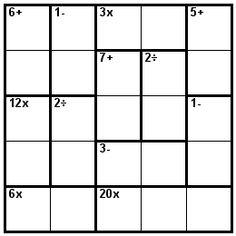 Number Logic Puzzles: 24212 - Kenken size 5