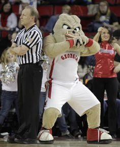 UGA mascot Hairy Dawg takes a dance break during a Georgia Bulldogs basketball game. (2013).