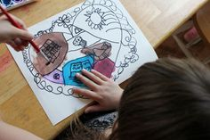 Gorgeous heart painting! Mapping our hearts - fill the heart with things that fill your heart.