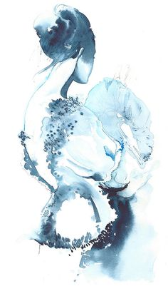 Original Watercolor Painting, fashion Illustration - Titled: Cerulean