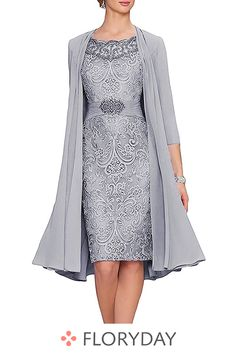 Elegant Knee Length Mother of the Bride Dress Chiffon Jacket Wedding Guest Gown Floryday Vestidos, Wedding Guest Gowns, Wedding Dress, Wedding Veil, Lace Wedding, Wedding Venues, Dresses For Sale, Dresses For Work, Plus Size Party Dresses