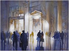 Light of the Pantheon - Rome by Thomas W. Schaller Watercolor ~ 18 inches x 24 inches