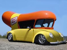 Awesome hotdog vw beetle. This could match my wiener mobile tshirt!!!