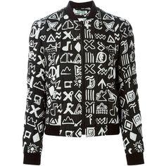 Kenzo 'Symbols' bomber jacket (888 CAD) ❤ liked on Polyvore featuring outerwear, jackets, black, bomber jacket, stand collar jacket, kenzo, long sleeve jacket and blouson jacket