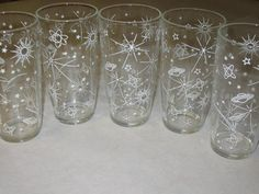 Vintage Set 5 Mid Century Modern Atomic Eames Space Planets Stars Drinking Water Glasses