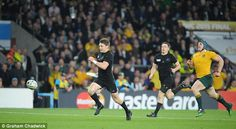 Beauden Barrett races clear to score the try that put the final nail in the coffin for the Aussies