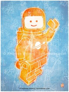 Hello Spaceboy in Orange on BlueColor Print 9x12in by byAndreas, $25.00