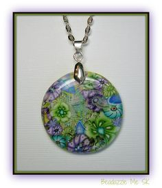 Flower Garden Faux Dichroic Pendant, Chain Necklace, polymer clay in my Etsy shop