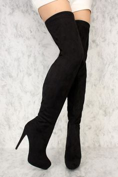 Black Platform Pump High Thigh High Boots Faux Suede You are in the right place about sparkly heel Here we offer you the most beautiful pictures about the heel classy Read Thigh High Boots Heels, Black High Heels, Heeled Boots, Shoe Boots, Black Thigh Boots, Black Heel Boots, Dr Shoes, Cute Shoes, Shoes Heels