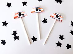 Free Shipping- 12 BB8 Star Wars Cupcake Toppers | Star Wars theme birthday party…