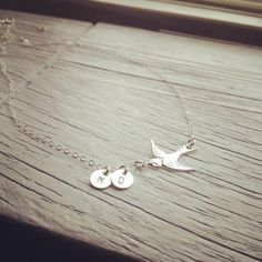 Personalized Gift - Dainty Sterling Silver Swallow Bird Initials Necklace - Everyday Jewelry on Etsy, $35.70