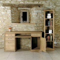 Mobel Solid Oak Twin Pedestal Computer Desk -  - Office Desk - Baumhaus - Space & Shape - 4