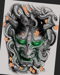 tattoos in japanese prints Japanese Hannya Mask, Japanese Mask Tattoo, Tattoo Japanese Style, Traditional Japanese Tattoos, Japanese Tattoo Designs, Samurai Mask Tattoo, Hannya Mask Tattoo, Hanya Tattoo, Demon Tattoo