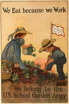 US WWII food propaganda poster.  Bring back the US School Garden Army!