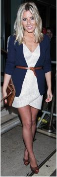 Mollie King wearing a white dress, navy blue belted cardigan, peep toe shoes and a matching clutch
