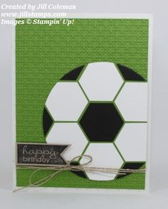 Soccer Ball Punch Art Card by jillastamps - Cards and Paper Crafts at Splitcoaststampers
