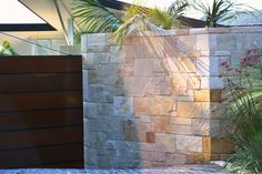 Sandstone Garage Wall Careel Bay Sydney Elevation In 2019 Garage Bar, Garage Walls, Garage Ideas, Sandstone Wall, Vintage Cafe Racer, Front Fence, Garage Makeover, House Front, Facade