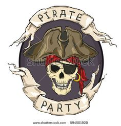 Pirate party, oval emblem, skull on dark background and two tapes. Vector illustration