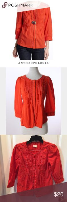 """Anthropologie Meadow Rue Pleated Fluted Blouse Anthropologie Meadow Rue Pleated Fluted Button Down Orange Blouse. Hidden buttons. Eyelet stitching trim. 15.5"""" bust. 23"""" long. Gently worn. Great condition. Feel free to make an offer or bundle & save! Anthropologie Tops Button Down Shirts"""