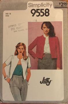 """VTG 9558 Simplicity (1980) """"Jiffy"""" unlined jacket.  Size 14, bust 36"""".  Complete, neatly cut, gently used.  Excellent condition. by ThePatternParlor on Etsy"""