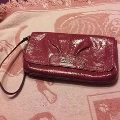 Pretty Coach Wristlet Fuschia Coach Wristlet with credit card holder and place to put your cash Coach Bags Clutches & Wristlets
