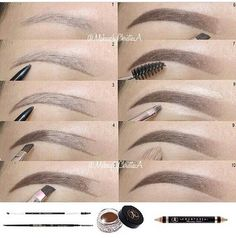 Ombre eyebrows routine using ' products Brow wiz in Brunette to outline Dipbrow Pomade in Chocolate to fill in - May 04 2019 at Eyebrow Makeup Tips, Makeup 101, Makeup Goals, Skin Makeup, Makeup Inspo, Eyeshadow Makeup, Makeup Brushes, Maquillage Black, Maquillage On Fleek