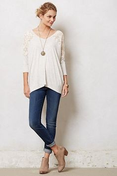 Anthropologie Colombe V-Neck Top Blouse Dolan Lace Tee Gray