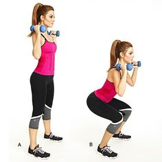 Dumbbell Squats | Maria Menounos shares her 15-minute fat-blasting circuit routine.