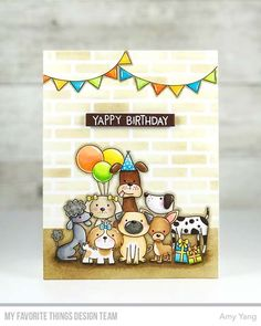 Handmade card from Amy Yang featuring Canine Companions stamp set and Die-namics #mftstamps