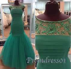 Ball gowns wedding dress, 2016 elegant green tulle sequins prom dress #coniefox #2016prom
